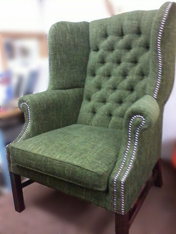 Armchair With New Buttons & Upholstery